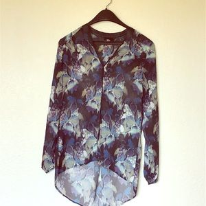 Mossimo button down high/low sheer top